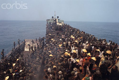 Refugees and Soldiers Fleeing Hue Aboard Navy Boat